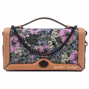 COACH Chain Clutch With Heritage Floral Crossbody